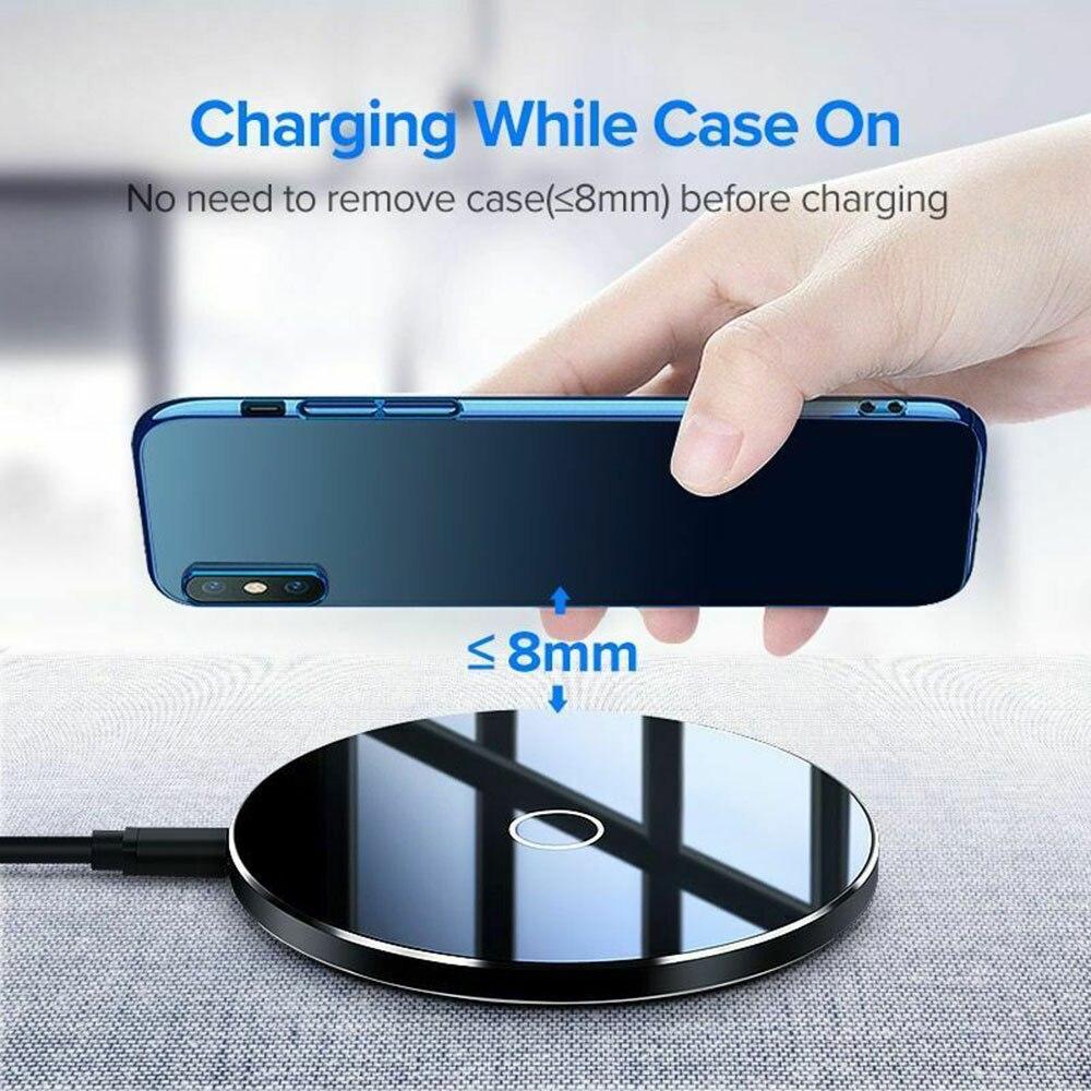 Chargeur sans fil miroir petit chargeur sans fil Qi rond chargeur de charge pour iPhone Samsung pour android Micro chargeur pour IPhone
