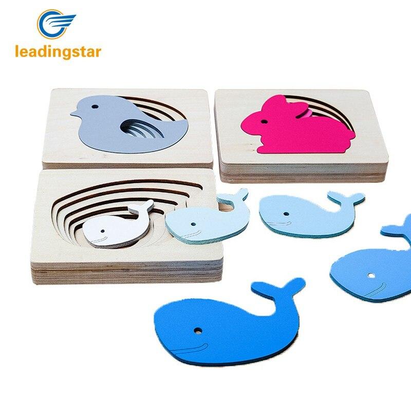 Leadingstar животного многослойные деревянные головоломки шаблон Творческий просвещения Игрушечные лошадки для детей