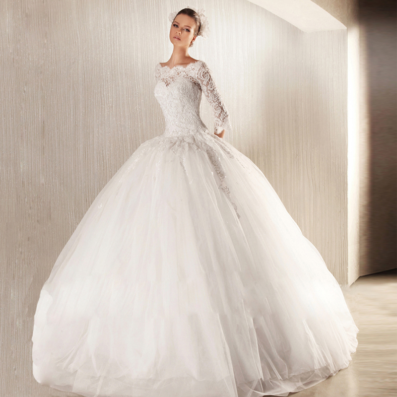 Vogue Of New Fund Of 2015 French Lace Long Sleeve The Princess Bride A Word  Shoulder Small Trailing Wedding Dresses In Wedding Dresses From Weddings ...