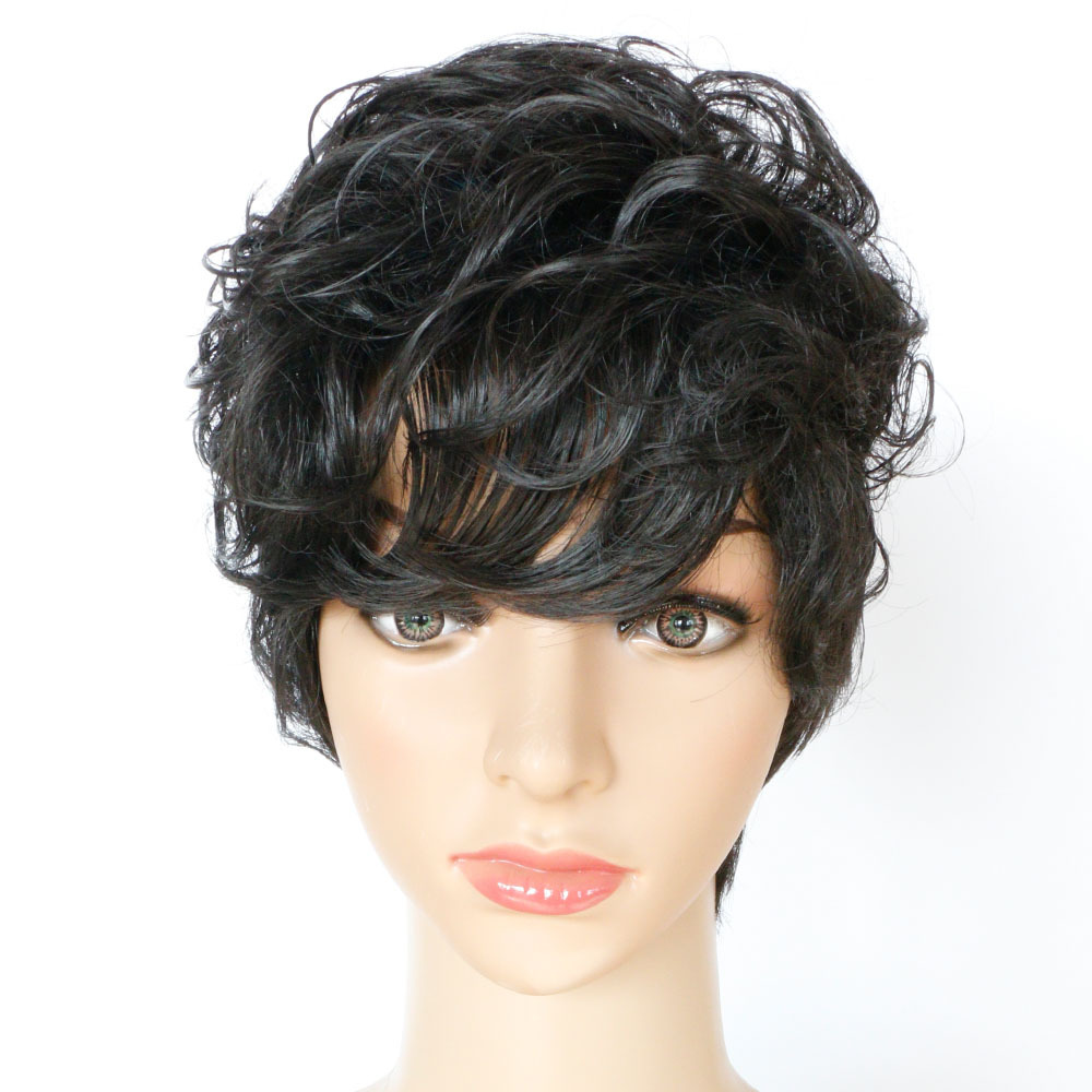 9inch Short wigs Charming kinky curly wig natural hair layered Perruque black Peruca cosplay