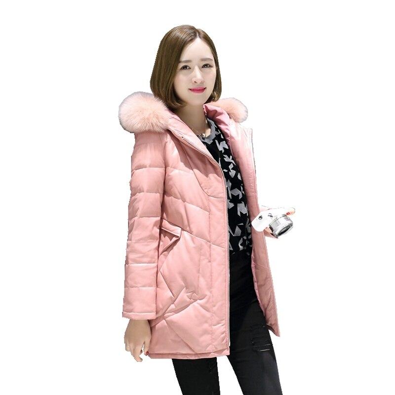 European Real Sheepskin Leather Suede Coat Jacket Fox Fur Hoody Autumn Winter Women Warm Outerwear Coats