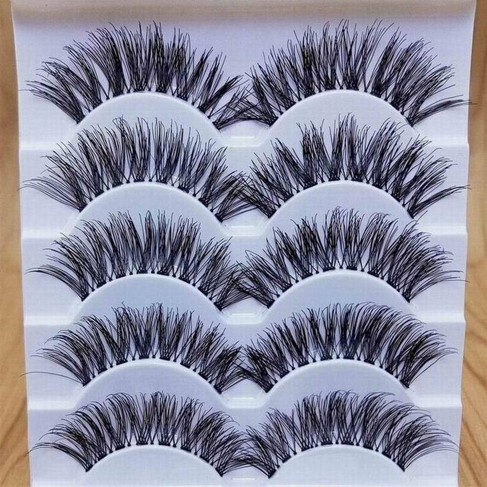 5 Pairs 3D Mink Hair False Eye Lashes Wispy Makeup Handmade Thick Natural Cross Long False Eyelashes Eye Makeup Beauty Extension