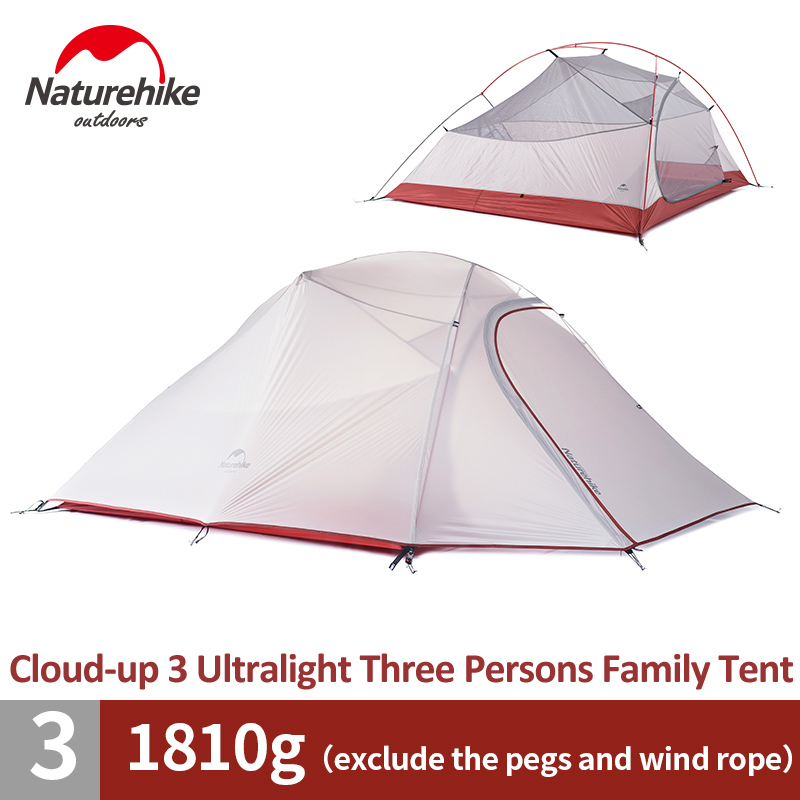 Naturehike Cloud-Up 3 Person Family Tent 4 Season Ultralight Backpacking Tent Outdoor Hiking Backpacking Waterproof Camping Tent naturehike 3 4 5 8 persons large family tent pyramid waterproof outdoor camping hiking triangle tent simple indian tent