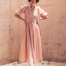 Elegant Women Pink V Neck Lantern Sleeve Long Dress Casual Button Short A Line Maxi Vintage Solid Ruffles