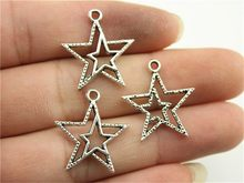 WYSIWYG 10pcs 23x20mm 2 Colors Antique Silver Antique Bronze Plated Star Pendants Star Charms Pendants Star Pendants Charm(China)