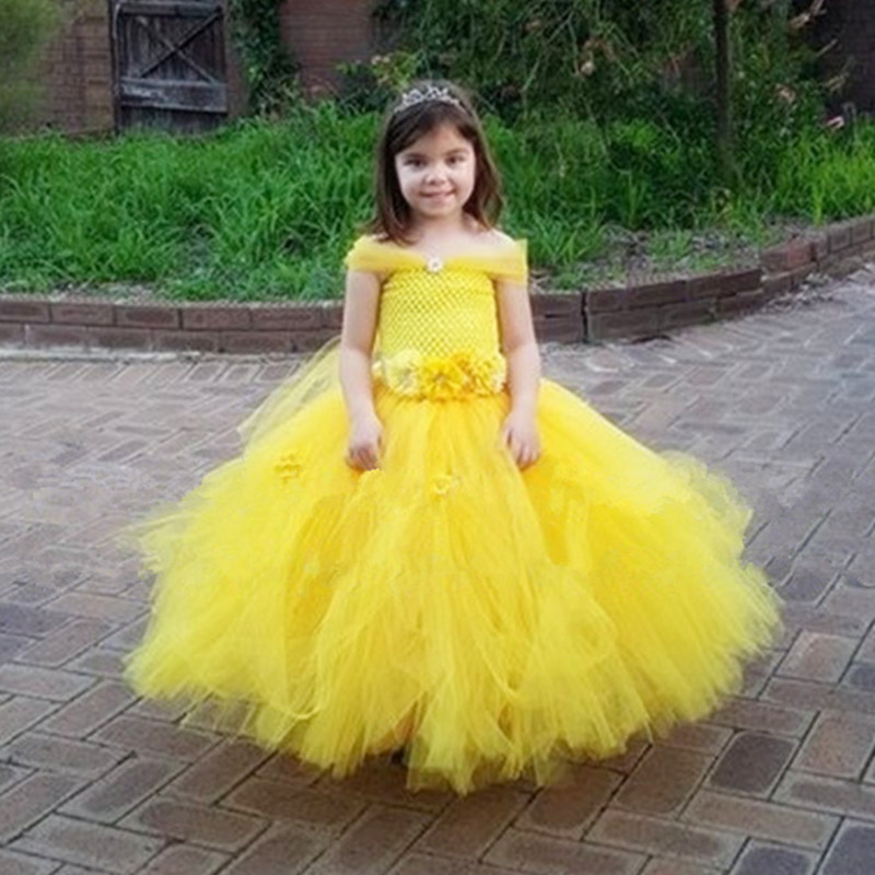Belle Princess Tutu Dress Girls Tulle Party Wedding Flower Girl Dresses Yellow Kids Halloween Beauty Beast Cosplay Dress Costume children girl tutu dress super hero girl halloween costume kids summer tutu dress party photography girl clothing