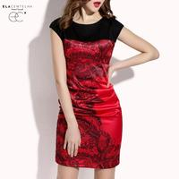 ElaCentelha Brand Dress Summer Women OL Work Print Patchwork Office Dress Casual Sleeveless Empire Bandage Bodycon