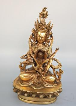 Chinese pure brass happy Buddha double body Buddha statue