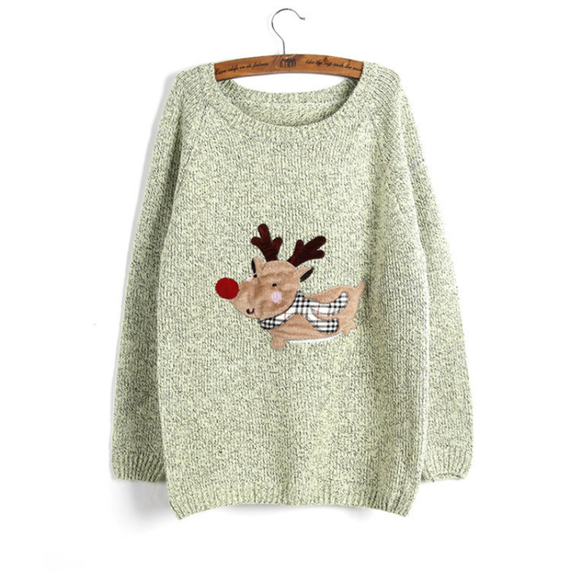 2016 new winter womens ugly christmas sweater green gray rose pink o neck long sleeve
