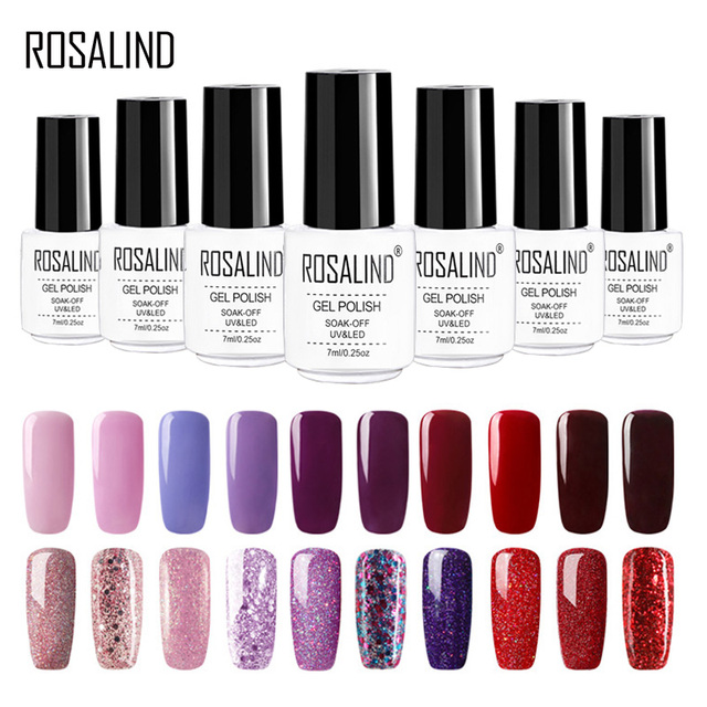 ROSALIND Gel Polish Set For Manicure Semi Permanent  Hybrid Nails Gel For Nail Base Soak Off  Primer 2019 Top Base Coat Lacquer