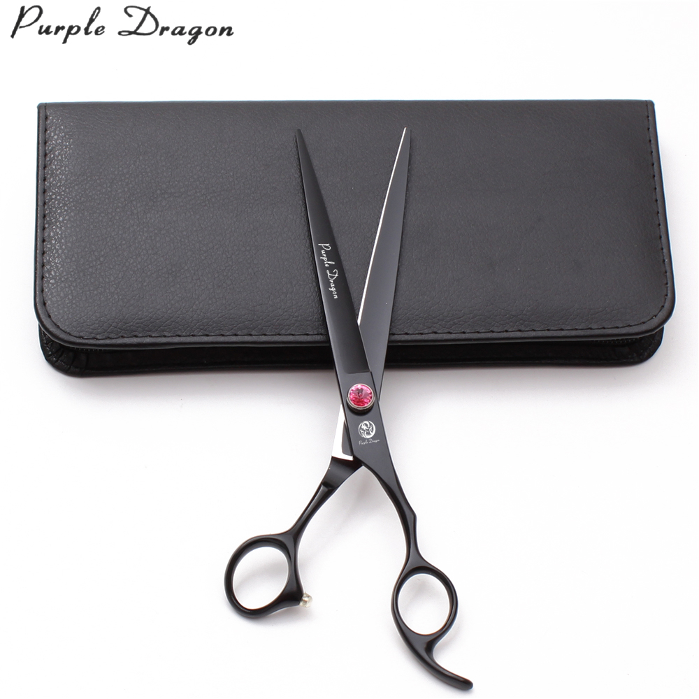 8 22cm Purple Dragon 440C Black Clippers For Dogs Cats Cutting Shears Animal Regular Scissors Professional Pets Z9102