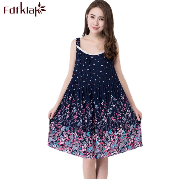 Plus Size L-XXL Nightgowns Women Sexy Spaghetti Strap Night Dress Summer Night Gowns Ladies Sleepshirts Cotton Sleepwear Q40