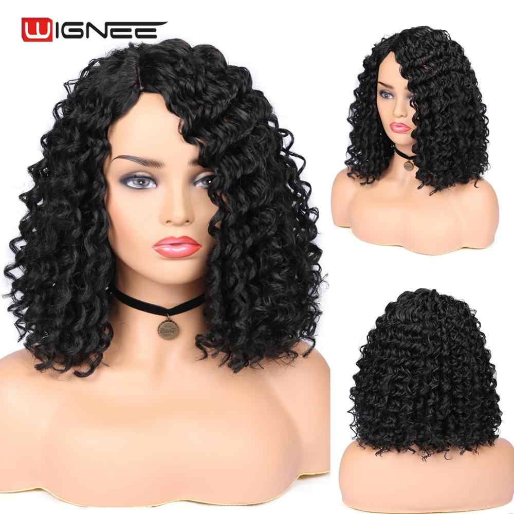 Wignee Natural Black Hair Kinky Curly Synthetic Wig For Women High Density Heat Resistant None Lace Side Part Female African Wig