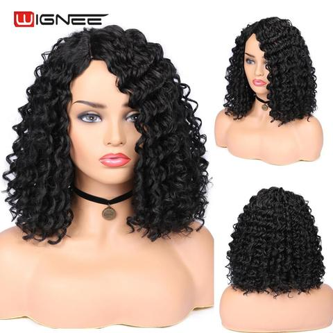 Wignee Natural Black Hair Kinky Curly Synthetic Wig For Women High Density Heat Resistant None Lace Side Part Female African Wig Pakistan