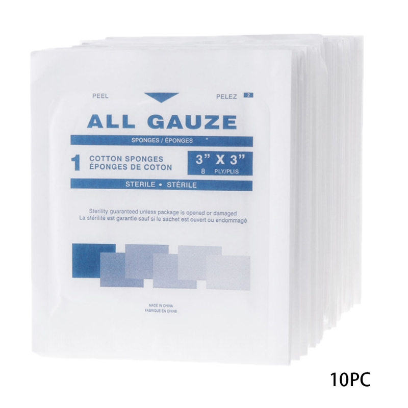 10Pcs First Aid Kit Wound Dressing Big Gauze Pad Medical Care Sterile 7.5x7.5cm Care New