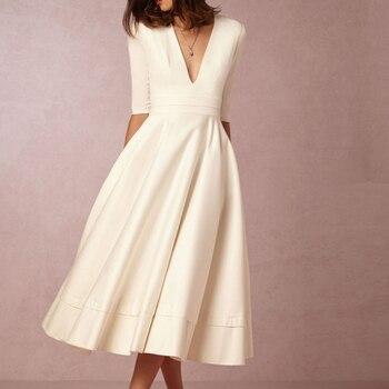 18692c88f3aa1 Akşam Parti 50 s 60 s Beyaz Bordo Şarap Kırmızı Lacivert Siyah Yeşil Elbise  Kadın Ofis Lady Derin V temel Büyük Salıncak Uzun Elbise