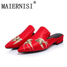 Size 34-43 Pointed Toe Chunky Heels Mules Chinese Ethnic Style Embroidery Summer Slippers Casual Shoes Woman Slides
