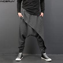 INCERUN Casual erkek pantolon derin kasık pantolon elastik bel gevşek Baggy moda Hip-hop dans gevşek Harem erkek pantolon S-3XL