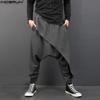 INCERUN Casual Men Pants Deep Crotch Trousers Elastic Waist Loose Baggy Fashion Hip-hop Dance Loose Harem Mens Pants S-3XL