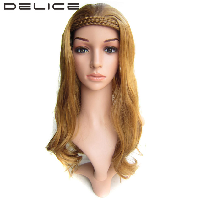 Delice 22 Inches Long Brown Wig Golden Blonde Wavy Hair With