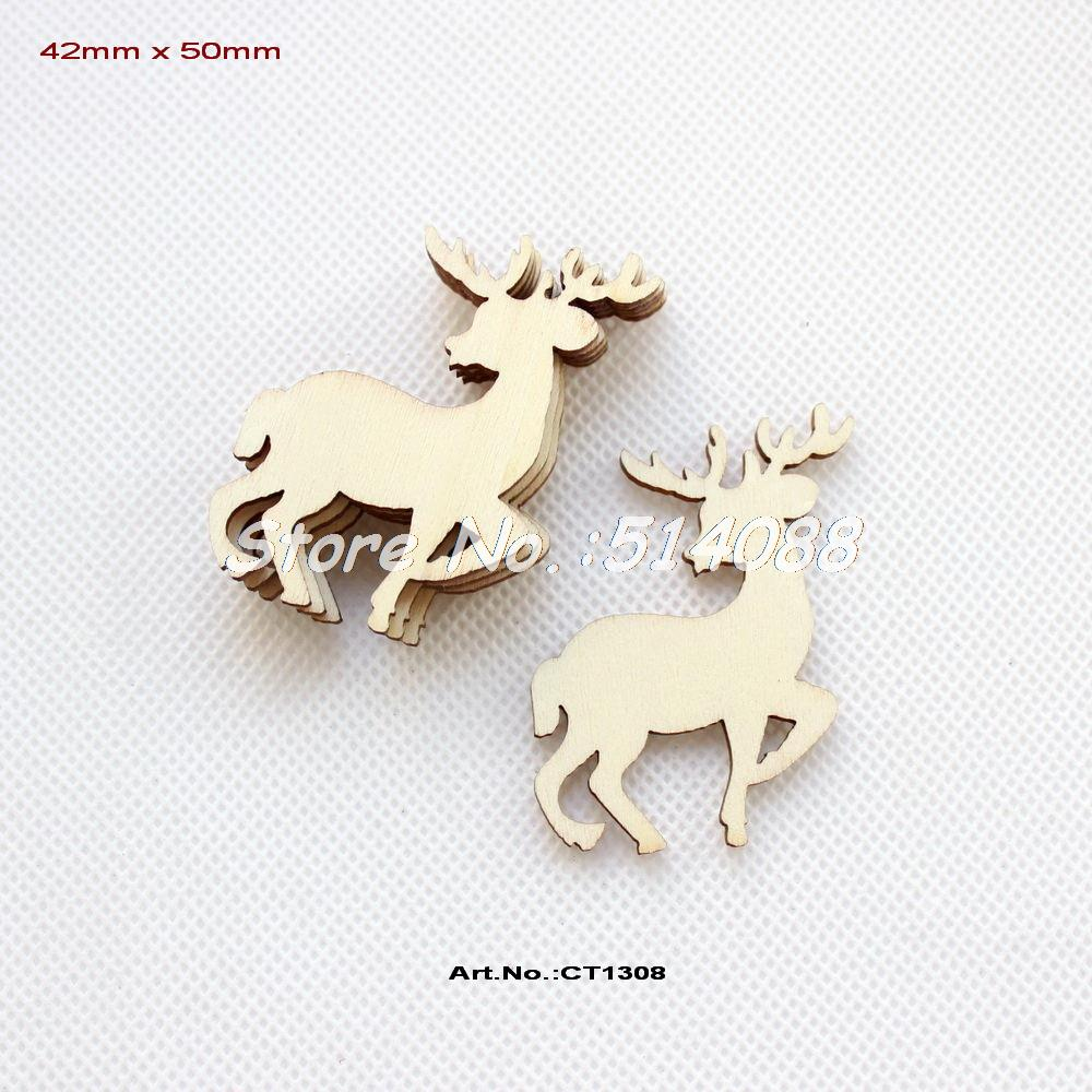 Reindeer christmas ornaments -  60pcs Lot 50mm Blank Unfinished Wood Reindeer Christmas Ornaments Moose With Strings 2