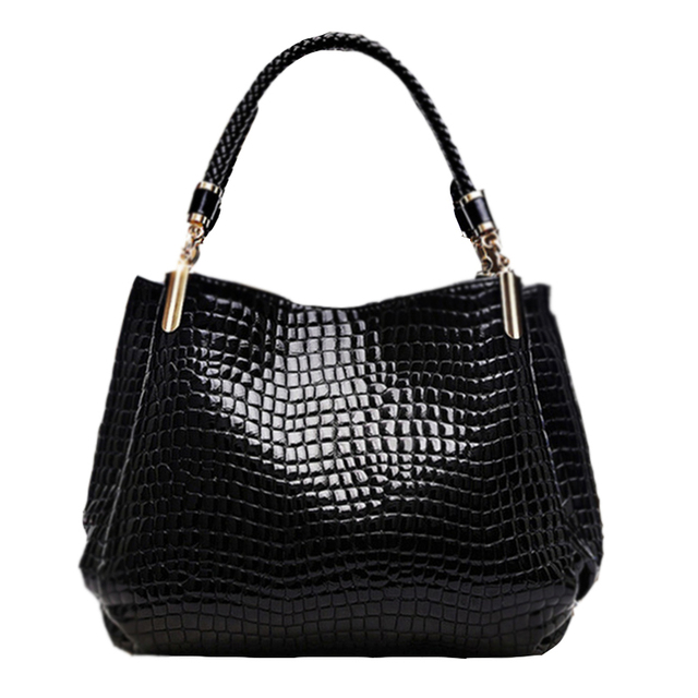 New Popular 2017 Alligator Pu Leather Women Handbag Fashion Women Famous Shoulder 3 Color Bags Black Red Blue Bag Ladies F005
