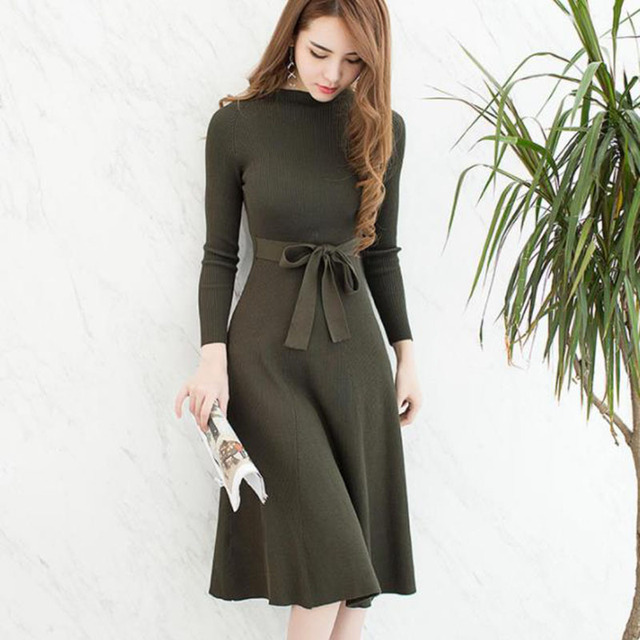 47d537da377763 2018 Black Sexy with Sashes Knitted Dress Women Slim Casual Autumn Winter  Long Sleeve High Waist Green Sweater Dresses