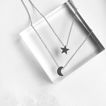 x197 New Arrival Moon Star Design Long Pendant Necklaces For Women 2 Pieces/Set Fashion Jewelry Gold Color Chain Necklaces