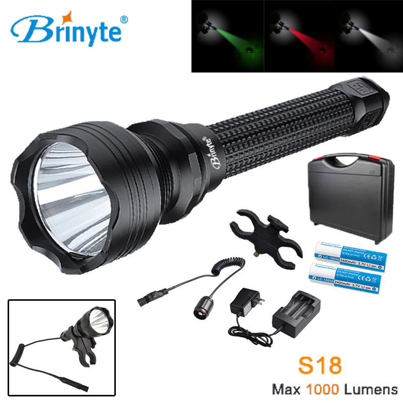 Brinyte S18 High Power Tactical Torch Lamp Cree XM-L2 U4 LED Search Rescue Flashlight with Gun Mount 18650 Battery and Charger rechargeable 2000lm tactical cree xm l t6 led flashlight 5 modes 2 18650 battery dc car charger power adapter