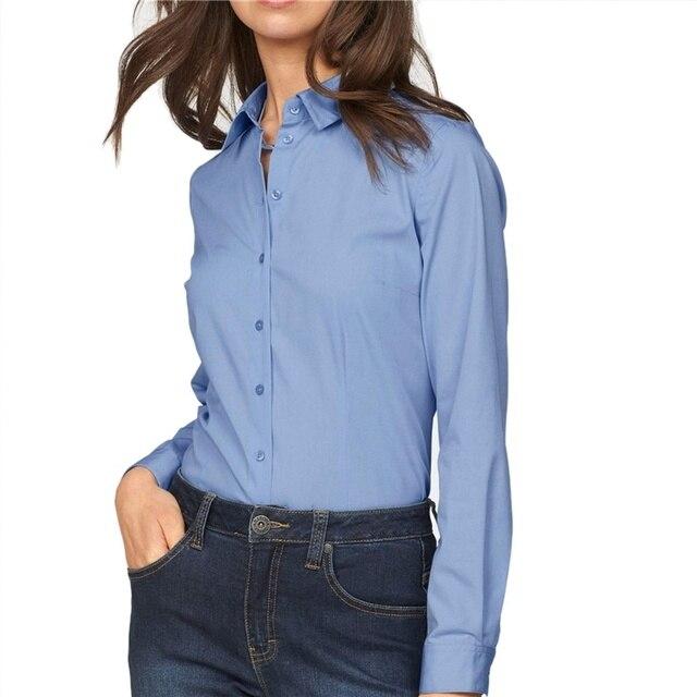 fd18c417f0e6 € 12.83 15% de DESCUENTO|Camisa de Color sólido para damas de oficina para  mujer moda cuello vuelto Buttun up Tops de manga larga para otoño ...