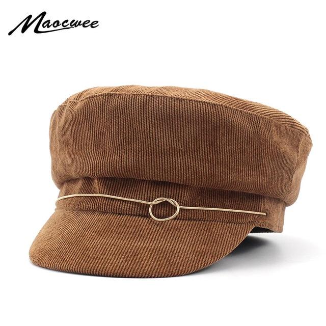 Army Hats Women Corduroy Military Caps Newsboy Corduroy Vintage Female Flat Cap  Designer Baker Hat Fashion Visor Octagonal Boina 7e679455bf0