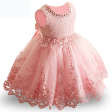 2019 Summer Baby Girl Dress Lace Beading Baby Girls 1 Year