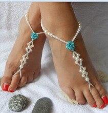 Boho del verano de PÁRRAFO de strench esclavo tobillo cadena de la perla de la flor para el tobillo pulsera para las mujeres de la joyería del pie descalzo sandalias tornozeleira