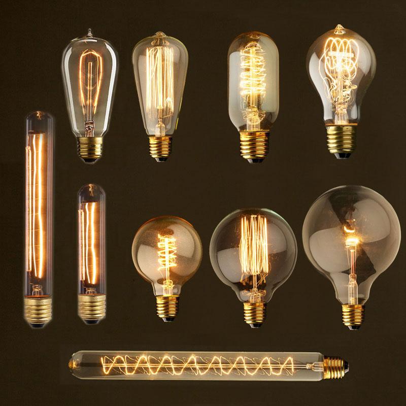 Vintage Edison Bulb E27 40w Lampada Retro Lamp Incandescent Ampoule 220V For Decor Filament Bulb E27 Pendant Lights Antique Bulb