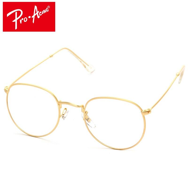275feee86427 Pro Acmé De Mode Ronde En Métal Cadre Lunettes Pour Femmes Hommes Vintage  Lunettes Avec Objectif Clair Montures Optiques oculos de grau CC0556