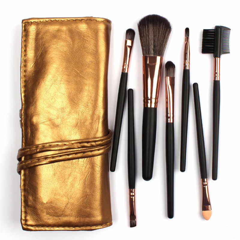 Sale! High Quality 7 Makeup Brush Set Kit in Sleek Golden Leather Bag Portable Make up Brushes