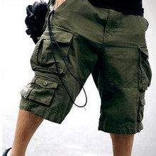 High Quality plus dimension Male Camouflage free Shorts Multi-pocket Solid shade no belt Mens cutton Leisure Overalls Short Pants