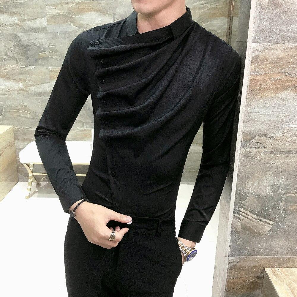 Autumn Men Shirt Fashion 2019 Korean Slim Fit Dress Shirts Mens Long Sleeve Front Fold Design Night Club Tuxedo Shirt Men 3XL-M 5