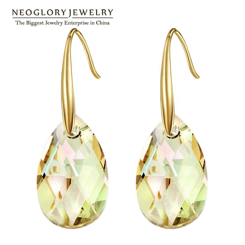Neoglory Austrian Crystal Light Yellow Gold Color Chandelier Dangle Drop Earrings for Women Fashion Jewelry Gift 2017 New JS9