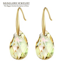 Neoglory Austrian Crystal Light Yellow Gold Color Chandelier Dangle Drop Earrings for Women Fashion Jewelry Gift 2017 New JS9