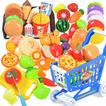 36PCS Plastic Kitchen Toy Shopping Cart Set Cutting Fruit Vegetable Food Pretend Play House Education Toys Basket for Girl Kid - DISCOUNT ITEM  50% OFF All Category