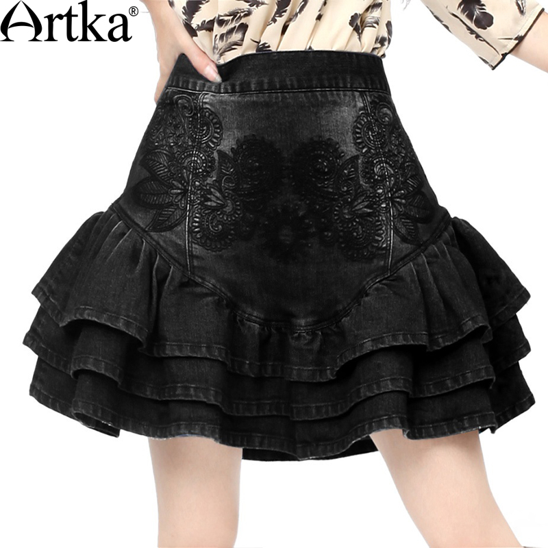 Artka Women's Spring Summer Slim Fit Cut Frilled Delicate Floral Embroidery Bud-shaped Denim Short Skirt KN11020Q