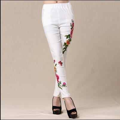 2019 Women spring autumn bohemian design long black white embroidery pencil pant trousers traditional Chinese clothing AF597