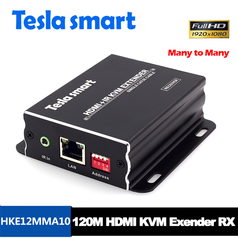 Tesla inteligente muchos a muchos red IP KVM Extender alta calidad 120 m USB HDMI IR KVM CAT5e /6 TCP/IP (sólo receptor)