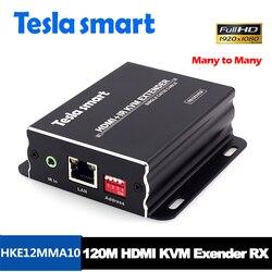 Extensor inteligente Tesla para muchas redes IP, extensor KVM de alta calidad 120m USB HDMI IR KVM por CAT5e/6 TCP/IP (solo receptor)