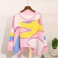 New High Quality Mohair Women's Sweater Fashion Slim Stretch Pullover Sweater Striped Sequins Harajuku Costume Sweet Style Top
