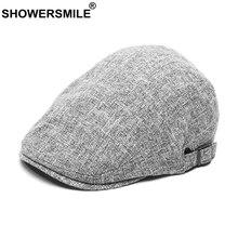 SHOWERSMILE Beret Men Summer Cotton Linen Flat Hat Grey Vintage Mens Driving Cap Breathable Retro Casual Male Ivy Duckbill