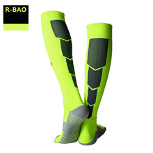 R-BAO Professional Football Socks Men  Anti-Slip Breathable Cotton Soccer Socks Compression Running Adults Stockings Sports W01