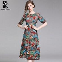 S-XXL, весенне-летнее женское платье, зеленый синий лист, желтый красный цветочный узор, вышивка, яркие красочные винтажные вечерние платья для мероприятий