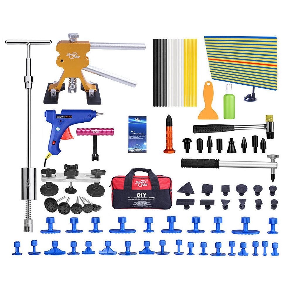 PDR Tools Dent Removal Car Dent Repair Tool Set Reflector Board Slide Hammer Glue Tabs Fungi Suction Cups For Dent spot welding sheet metal tools spotter tools with slide hammer 393pieces ss 393